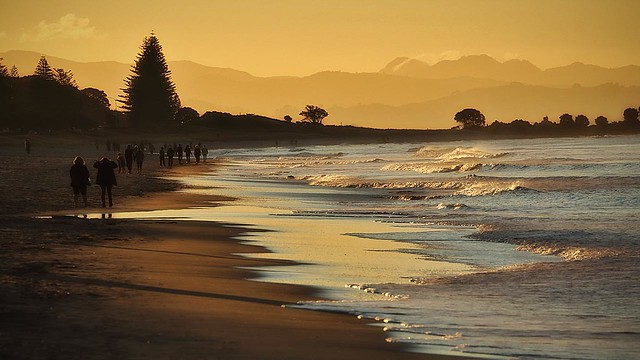 Sundown at the beach on a winters day