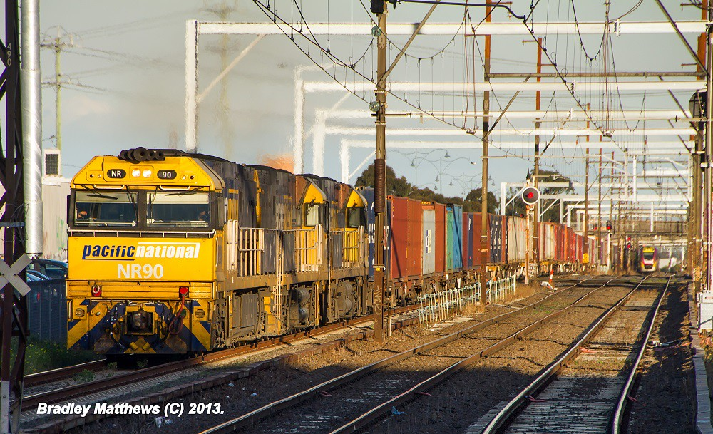 NR90-NR98-NR108 on 3MC2 to Griffith at Albion Station (21/5/2013) by Bradley Matthews