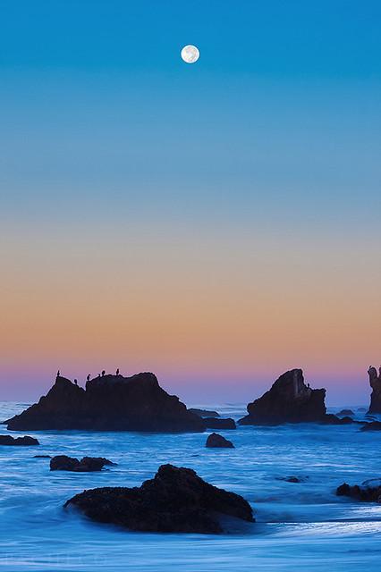 Steep Curves - A Moonset at El Matador, Malibu Ca