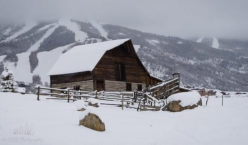 winter mountain snow architecture barn landscape colorado unitedstates steamboatsprings steamboatco steamboatbarn