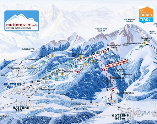 Muttereralm - mapa sjezdovek