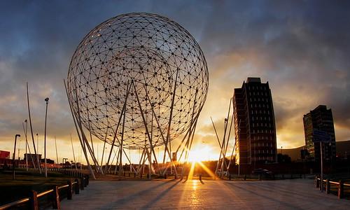 uk sunset sky sculpture en broadway balls belfast falls fisheye rise wolfgang buttress westicle pentax1017mm timetodemolishthosetowers
