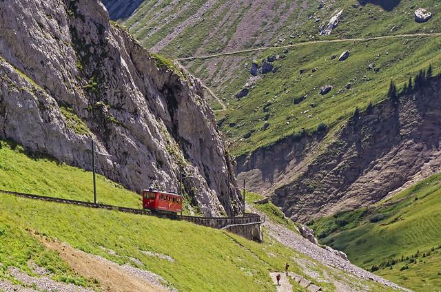 Cog train arrives at Mount Pilatus summit, Switzerland