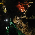 Colored lights in the cavern