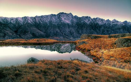 newzealand mountain ice sunrise landscape pond otago queenstown
