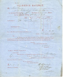 Clarence Railway Share dividend 1851   by ian.dinmore