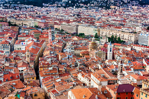 old city trip travel red panorama orange france streets tower tourism church canon french town nice holidays mediterranean riviera rooftops over roofs cote dazur buildingsarchitecture provencealpescôtedazur 450d pietkagab