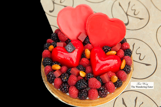 French Kiss Cake - Raspberries and blackberries with candied almonds, berry pâte de fruits, and white chocolate