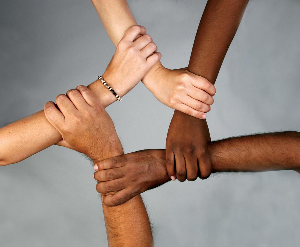 School diversity many hands held together