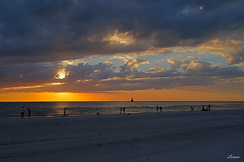 ocean sunset sky orange sun seascape beach nature water colors clouds fire pentax florida hdr clearwater k50 18270mm