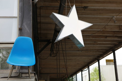 Blue chair white star   by schoeband