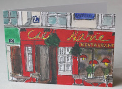 Chez Marie, Montmartre, Paris Litho Print Greeting Card