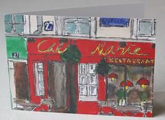 Chez Marie, Montmartre, Paris Litho Print Greeting Card
