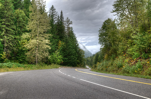 road street trees canada clouds forest landscape highway britishcolumbia empty valley hdr d800e