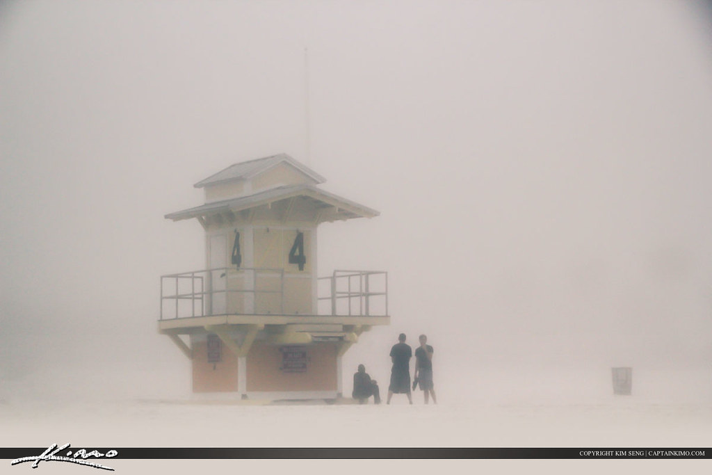 Lifeguard Tower at Beach Covered in Fog Clearwater Florida