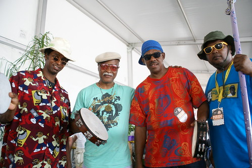 Harold Wilson, David Montana, Michael Hughes Sr of Washitaw Nation, with Action Jackson.  Photo by Bill Sasser.