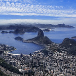 View Of Sugarloaf Mountain, Botafogo And The City of Rio De Janeiro, Brazil, South America