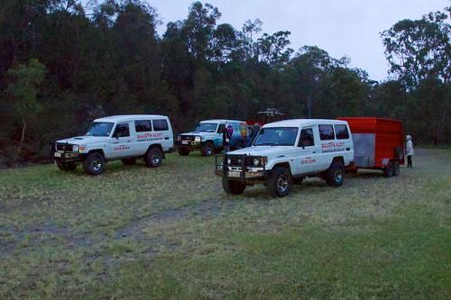 trees cars grass sunrise group australia