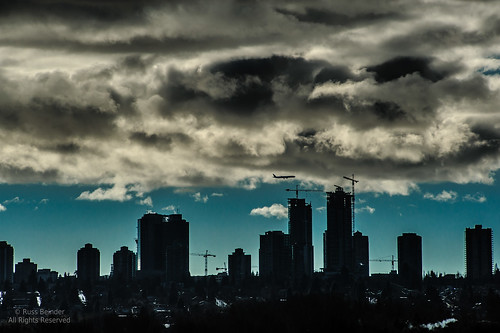 sky canada storm silhouette clouds airplane bc towers highrise burnaby metrotown tamron70210f35
