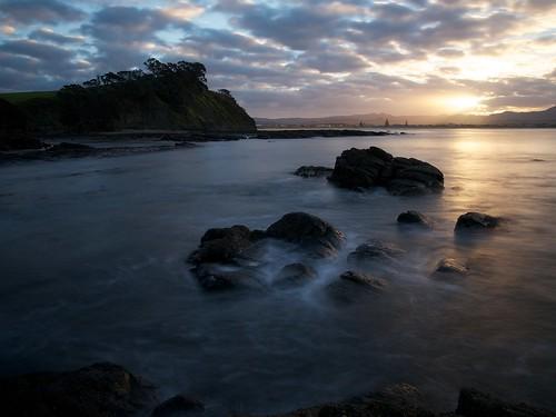 newzealand water rock omaha rodney goldenhour 10stop