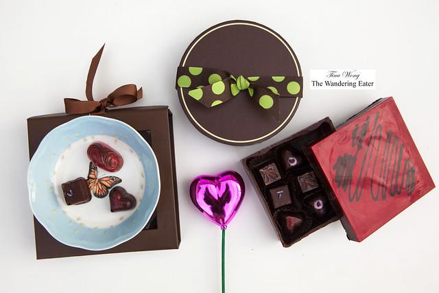 Handpainted edible chocolate box of chocolates and bonbons by Stella Leona Artisan Chocolates