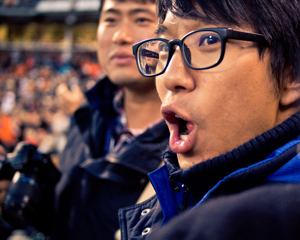 Asian Man Cheering at AT&T Park in San Francisco