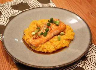 Butternut Squash Risotto with Maple Soy Glazed Salmon | by kissmywhisk