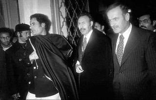 Qadhafi, Boumediene, and Assad in Tripoli, December 1977