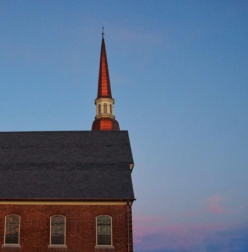 sunset church steeple copper