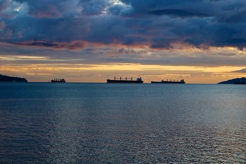 ocean sunset sea weather vancouver landscape ships