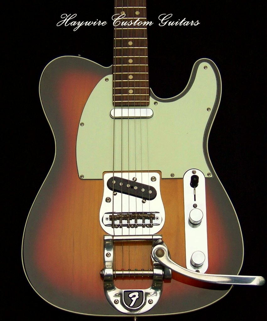 Sunburst Bigsby Tele+Warmoth Neck+txt | custom guitars