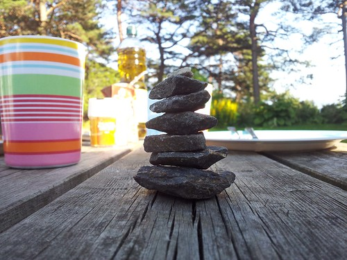 Mini cairn on the picknick table | by theonewithout