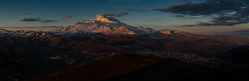 morning panorama mountain snow sunrise turkey landscape dawn volcano top aerial volcanic talas erciyes kayseriprovince