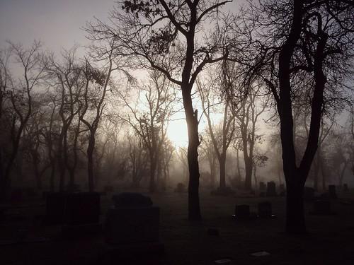 november cemetery graveyard fog sunrise wyoming walkers lowclouds mistandfog