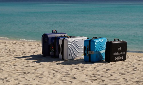 Luggage waiting for the seaplane, Madhiriguraidhoo, Lhaviyani Atoll, Maldives   by Romain Pontida