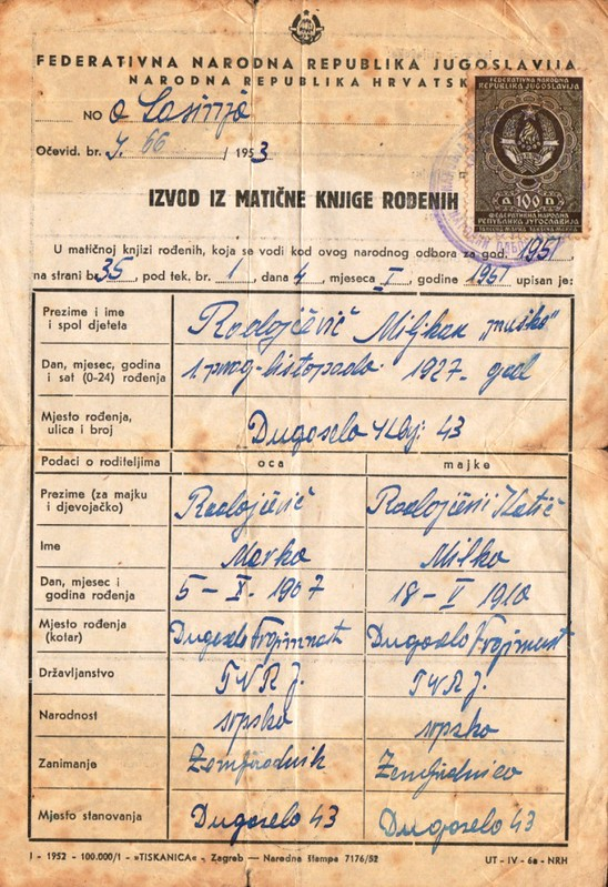 Birth certificate for Misko Radojcevic