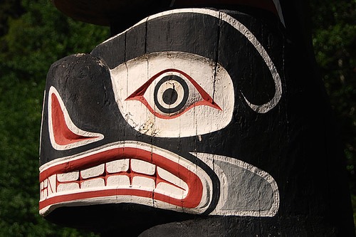 Kwakiutl Bear Pole near Port McNeill, Vancouver Island, British Columbia, Canada