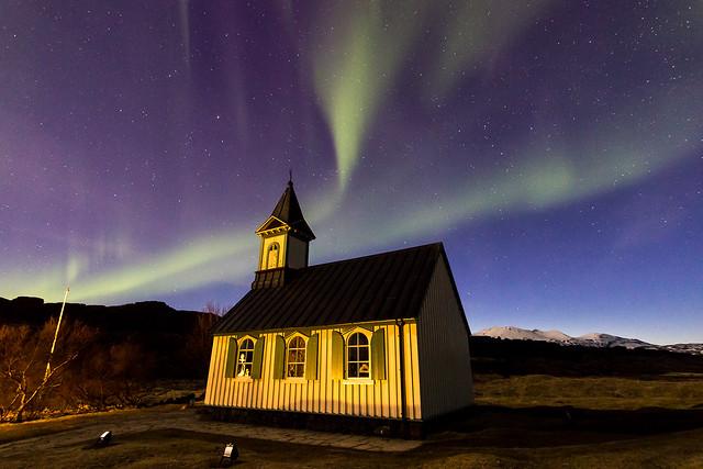 Aurora at Þingvallakirkja, the church at Þingvellir
