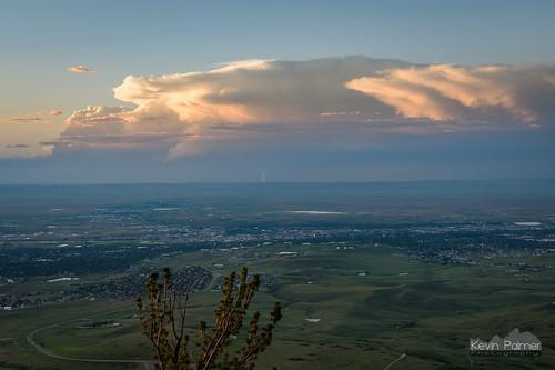 caspermountain wyoming june summer sunset evening dusk color colorful sky orange clouds distant thunderstorm cumulonimbus anvil lightning bolt strike lucky scenic view vista tamron2470mmf28 nikond750 road storm stormy