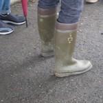 dark green and darc red rain boots
