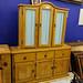 Large waxed pine kitchen dresser