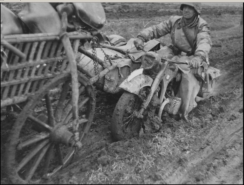 "a motorcycle BMW R-12 of SS Division ""Das Reich"""