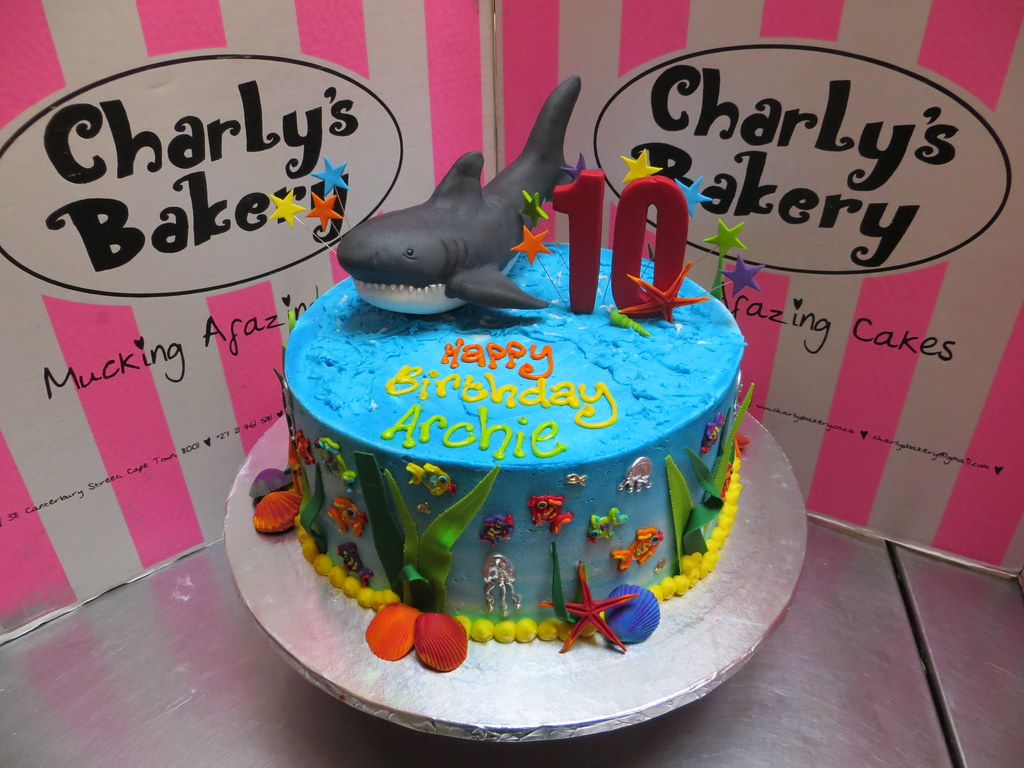 Incredible Shark Themed 10Th Birthday Cake With Piped Fondant Sea T Flickr Birthday Cards Printable Nowaargucafe Filternl