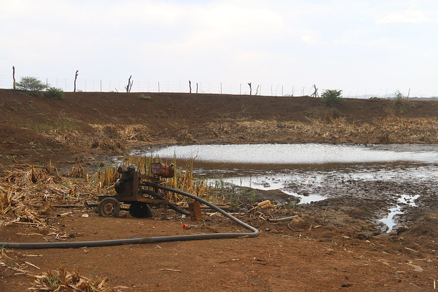 This irrigation system in Somtongo in Swaziland cannot pump water to the fields any more. One of the water points has dried up as a result of the prolonged dry spell.