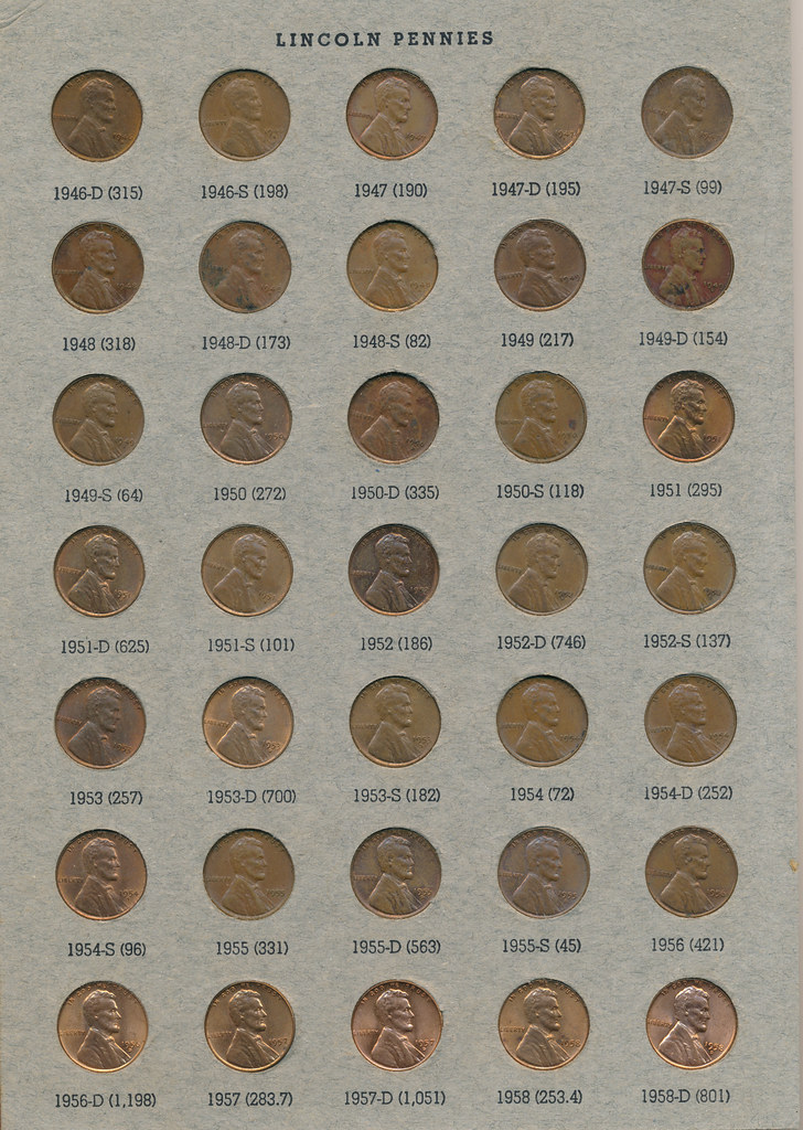 RD2591 Lincoln Cent 1909 - 1973 Album Page 4