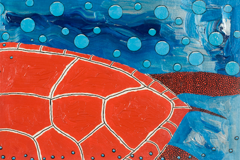 "Tail of Red Turtle (16"" x 24"" acrylic on canvas)"