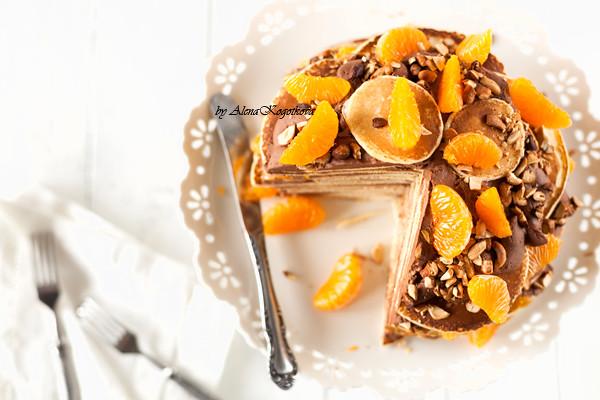 Pancake Cake with Chocolate Cream and Tangerines