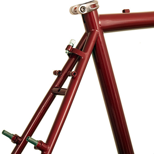 <p>Seat cluster view of Gunnar CrossHairs in Garnet Metallic / Black Buillseye Decals.  The threaded canty brake cable adjuster comes on larger sizes (54cm and up).</p>