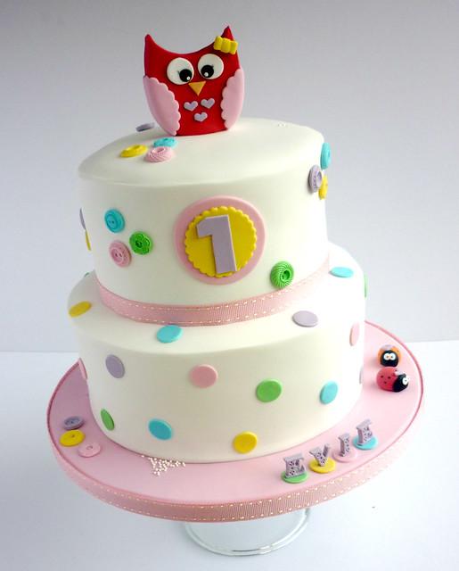 Tremendous Owl Themed Spotty Birthday Cake Liana Stevens Flickr Birthday Cards Printable Nowaargucafe Filternl