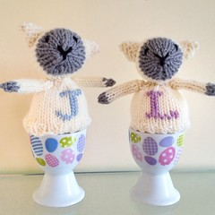 Knitted personalised egg cosies